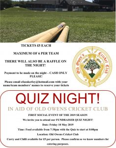 Old Owens Cricket Club Quiz Night 10th May 2019